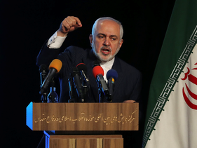 Iran's Foreign Minister Mohammad Javad Zarif addresses in a conference in Tehran, in February