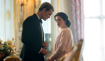 In this image released by Netflix, Claire Foy as Queen Elizabeth II, right, and Matt Smith as Prince Philip in a scene from 'The Crown'