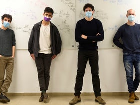 The Technion research group. From left Rotem Elimelech, Yoav Harris, Prof. Ido Kaminer and Shahar Gottlieb.