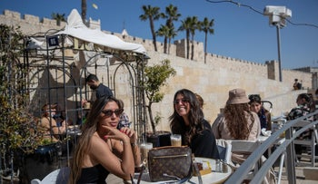 At a cafe by the Old City of Jerusalem after the third lockdown lifted, April 2021