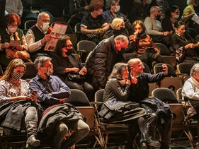 Theatergoers attending a play at the Cameri Theater in Tel Aviv, this month.