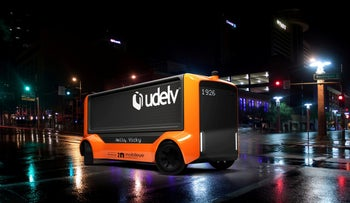 A computer rendering of an automated electric delivery vehicle, the Udelv Transporter, that will have a self-driving system developed by Intel's Mobileye.