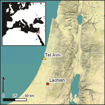 A map of the Levant showing              the location of Lachish