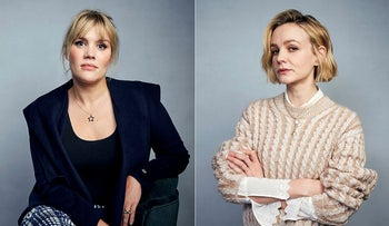 "Writer/director Emerald Fennell, left, and actress Carey Mulligan pose for a portrait to promote their film ""Promising Young Woman"" during the Sundance Film Festival in Park City, Utah"