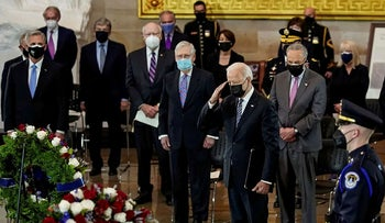 U.S. President Joe Biden attends a lying in honor ceremony for U.S. Capitol Police officer William Evans, on the Capitol Hill in Washington, DC