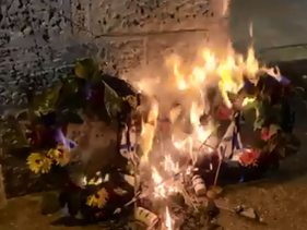 Wreaths torched in Jerusalem, today.