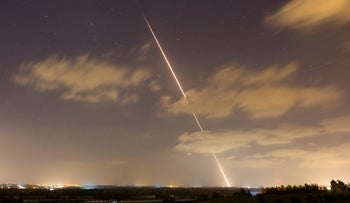 A rocket is launched from the northern Gaza Strip towards Israel in 2014.