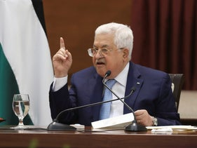 Palestinian President Mahmoud Abbas heads a leadership meeting at his headquarters in the West Bank city of Ramallah