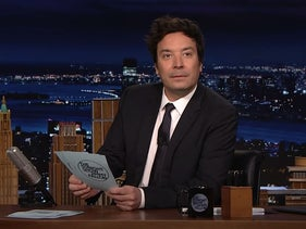 Jimmy Fallon gestures after reading out a tweet by the Israeli Foreign Ministry's official account.