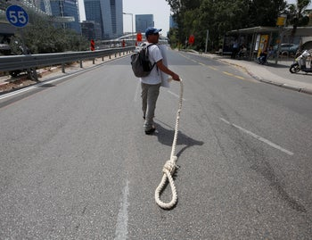 A protester on Ayalan highway, today