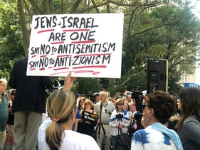 A protest in New York City calling on Mayor Bill De Blasio to take action against antisemitism, in 2019.