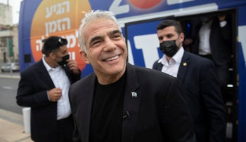 Yair Lapid in Tel Aviv on Election Day, last month.