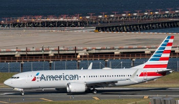 American Airlines' Boeing 737 MAX lands at LaGuardia airport in New York, last year.