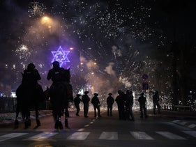 Fireworks and stun grenades amid clashes in Jaffa Sunday.