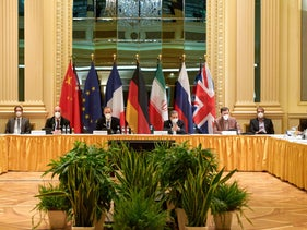 Members from the parties to the Iran nuclear deal, including Germany, France, Britain, China, Russia and Iran at a meeting in Vienna Saturday.