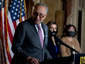 Chuck Schumer at a press conference in Washington D.C. last week.