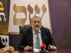 Shas party leader Arye Dery at his party's offices in Jerusalem last month.