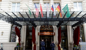 Police officers stand outside a hotel, in the leadup to a meeting of the JCPOA Joint Commission or Iran nuclear deal in Vienna, Austria, last week