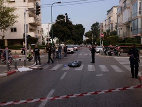 The site of the suspected hit-and-run accident on Jabotinsky Street in Tel Aviv.