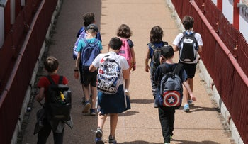 Children leave a school in Jerusalem, this month.