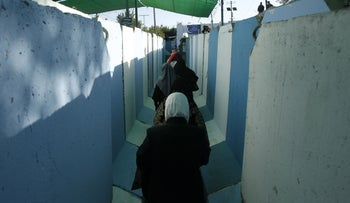 Palestinian women at the Bethlehem checkpoint in 2018.