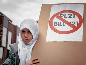 A veiled girl protesting Bill 21 in Quebec in 2019.
