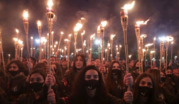 A torchlight procession commemorating victims of the 1915 Armenian genocide, in Yerevan today.