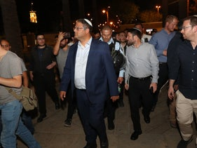 Religious Zionism party leaders Itamar Ben-Gvir, center, and Bezalel Smotrich, behind and to the right, during demonstrations at the Damascus Gate of Jerusalem's Old City, April 2021