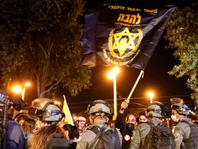 """Israeli border police block members of """"Lahava"""", a Jewish extremist group, from approaching the Damascus Gate, just outside Jerusalem's Old City last week"""