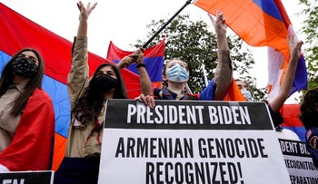 Members of the Armenian diaspora rally in front of the Turkish Embassy after U.S. President Joe Biden recognized the 1915 Armenian genocide.