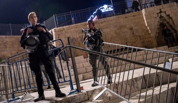 Police officers at Damascus Gate in Jerusalem's Old City, two days ago.