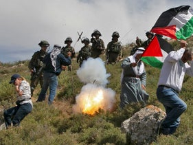 IDF soldiers fire tear gas at Palestinian protesters near Nablus this month