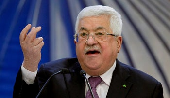 Palestinian President Mahmoud Abbas speaks after a meeting of the Palestinian leadership in the West Bank city of Ramallah, in 2020.