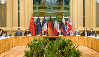 Delegation members from the parties to the Iran nuclear deal, Vienna, April 2021.
