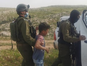 The detention of the children in the West Bank, last month.