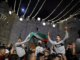 Palestinian protesters outside the Damascus Gate in Jerusalem on Monday.