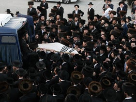 A funeral in Jerusalem of a victim from the Mount Meron disaster