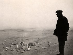 Armenian leader Papasyan viewing the aftermath of murders that took place in a Syrian concentration camp for Armenians, 1915-1916.