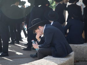 Mourners at the funeral of Moshe Ben Shalom, killed in the Mount Meron disaster, two days ago.