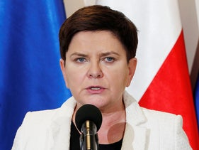 Beata Szydlo speaks to reporters in Warsaw, Poland, two years ago.