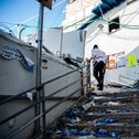 The scene of the stampede tragedy at Mount Meron, yesterday
