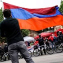 Members of the Armenian diaspora rally in front of the Turkish Embassy, last month.