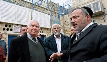 Yosef Schwinger with then-State Comptroller Micha Lindenstrauss on a tour of Mount Meron in 2009.