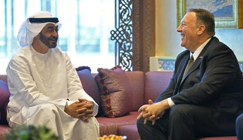 Then-U.S. Secretary of State Mike Pompeo meets Abu Dhabi Crown Prince Mohammed bin Zayed al-Nahyan in Abu Dhabi, in 2019.