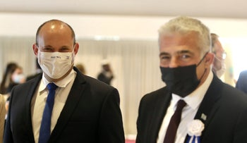 Naftali Bennett and Yair Lapid at the Knesset last week.