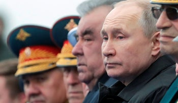 Putin at Russia's World War Two victory parade, today.