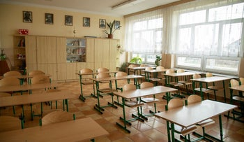 A picture shows the empty interior of Primary School number 3, closed due to the measures to halt the spread of the coronavirus disease (COVID-19) in Nidzica, Poland, March 2, 2021.