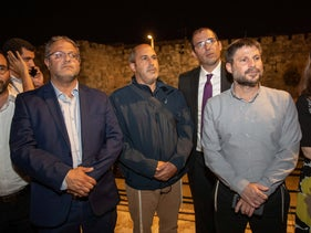 Jerusalem Deputy Mayor Arieh King flanked by Religious Zionism lawmakers Itamar Ben-Gvir and Bezalel Smotrich at Damascus Gate three weeks ago.