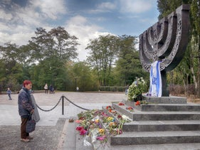 A woman in 2016 visiting the memorial to victims of the 1941 Nazi massacre of Jews in Babi Yar in Kiev, Ukraine.