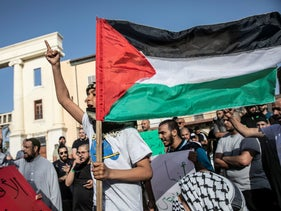 A protest underway in Jaffa today.